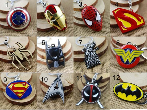 top popular Super Heroes Captain America Superman Spiderman Batman Iron Man Game of Thrones Keychain Key rings Fashion Jewelry Christmas Gift Dropship 2019