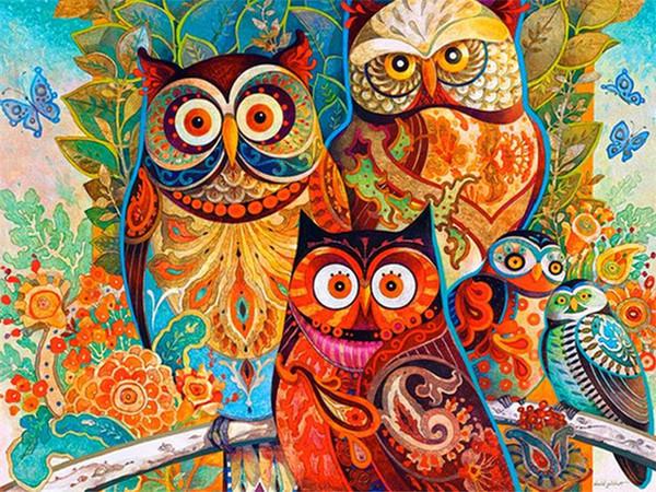 New diy diamond painting cross stitch kits resin pasted painting full round drill needlework Mosaic Home Decor cartoon cute owl yx0075