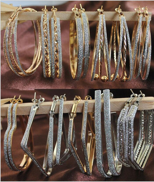 top popular 50pair Big Round Earrings Gold silver Color Fashion Huggie Jewelry Wholesale Diameter Large Hoop Earrings Women mix designs F353 2019