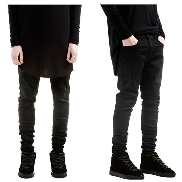 Vêtements de hip-hop en gros-hommes de la mode pour les grands hommes pantalons 30-36 designer jeans slp kanye rock noir jeans cirés
