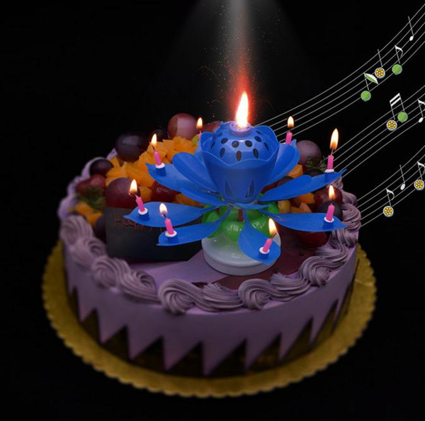 top popular 2 layers Magic Music candle Birthday Party Wedding Rainbow Lotus Sparkling Flower Candles light cake accessory Festive Supplies 2021
