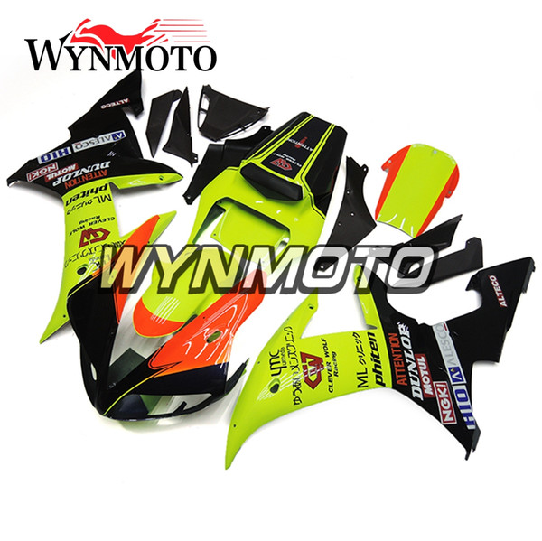 Kit carénage moto brillant vert orange complet de la carrosserie pour Yamaha YZF1000 R1 YZF 1000 2002 2003 02 Kits en plastique ABS