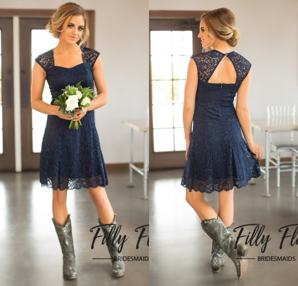 best selling 2018 Short Navy Blue Lace Bridesmaid Dresses Capped Sleeves Knee Length Maid of Honor Gowns Cheap Country Bridesmaid Dress