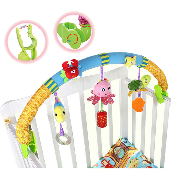 Wholesale- Kids toys rattles bed Stroller Plush Toy car clip lathe hanging Baby seat bed toys for infants brinquedos LF142