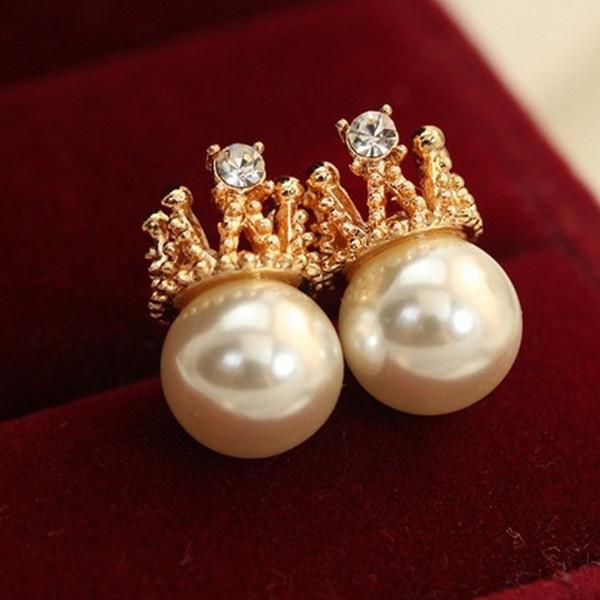Korean temperament OL female golden diamond crown pearl earrings jewelry