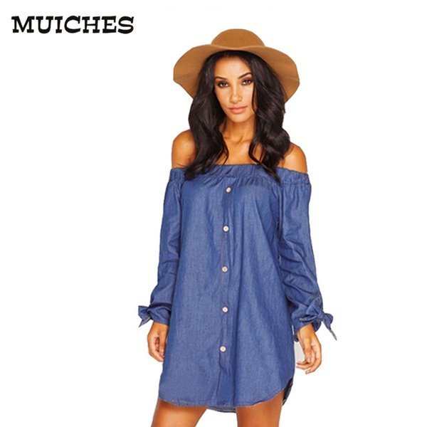 2017 new summer style Button vintage women denim dress long sleeve with Bow off the shoulder Loose fashion mini dresses