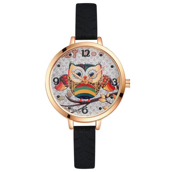무료 배송 올빼미 학생 만화 시계 남자와 여자 쿼츠 시계 라운드 브랜드 시계