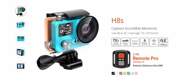 EKEN H8S Action Cameras With WiFi Real 4K Sport Camera 30FPS FHD Ambarella A12S75 Waterproof CAM 5pcs/Lot Free DHL