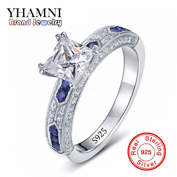 Wholesale- Have Silver Certificate of Authenticity 100% Solid 925 Sterling Silver Ring 1CT SONA CZ Diamant Engagement Ring for Women AR051