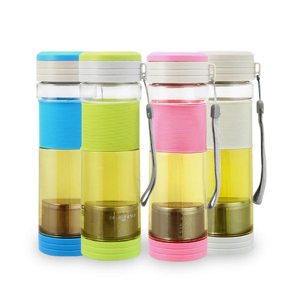CJ023 NEUE Gesunde Tragbare Reise Sport Tee Wasser Dichtung Flasche 550 ml Reise flasche Mit Filtersieb Teesiegel Flaschen grau