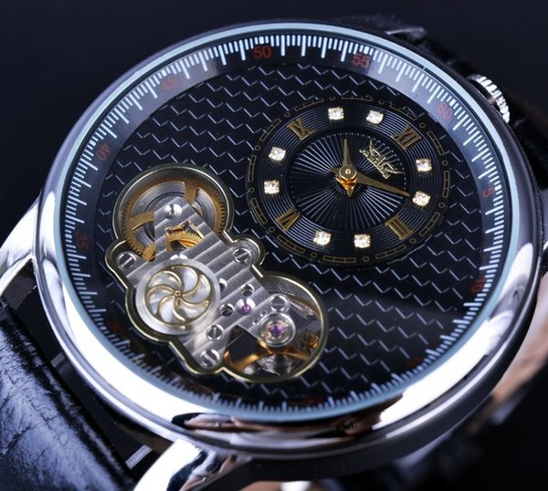 Jaragar Classic Dual Movement Design Small Flywheel Automatic Mechanical Watch Men Luxury Diamond Watches Top Brand Ma Wristwatches For Male