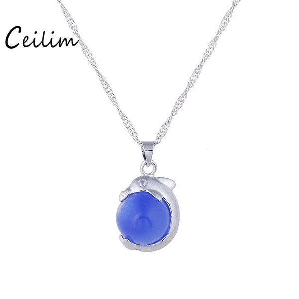 Dolphin Necklace Pendants for Women Silver Plated Chain Green Blue Pink Bead Long Necklace Ocean Fashion Jewelry Cute 2017
