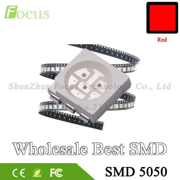 Wholesale 1000pcs SMD 5050 Red 620 - 625nm 0.12W LED Chip Surface Mount SMT Beads Super Bright LED Light Emitting Diode Lamp