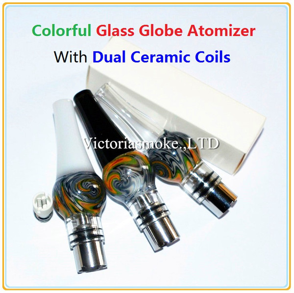 Colorful Glass Globe Atomizer with Dual Ceramic Coils for wax Vaporizer Wax Vapor Tank with Ceramic Coil Head for EGO T Evod Battery eCigs