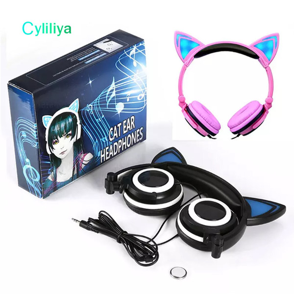 Foldable Flashing Glowing Cat Ear Headphones Headband Earphones 3.5mm Music Gaming Headset With LED light For Iphone Computer Cell Phone MP3