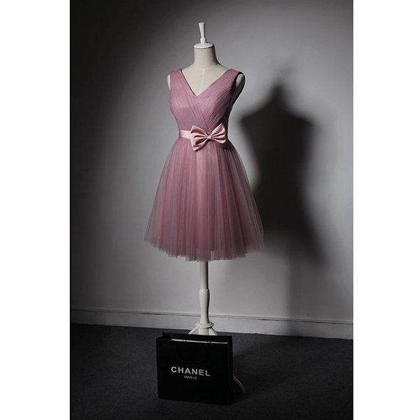 2017 Yeni Geliş Gelinlik Modelleri V Yaka Yumuşak Tül ile büyük Yay Düğün Konuk Elbiseler Ucuz Parti Elbise Pembe, Şampanya, Kraliyet Mavi