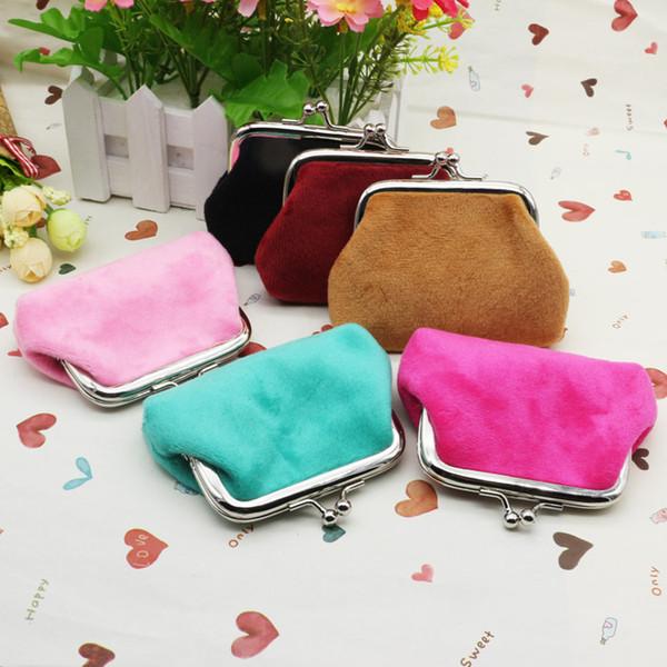 Moda caramelle colore flanella borsa studenti borsa raccoglitore zero borsa di denaro per bambini Borse di Natale regali lqb-006