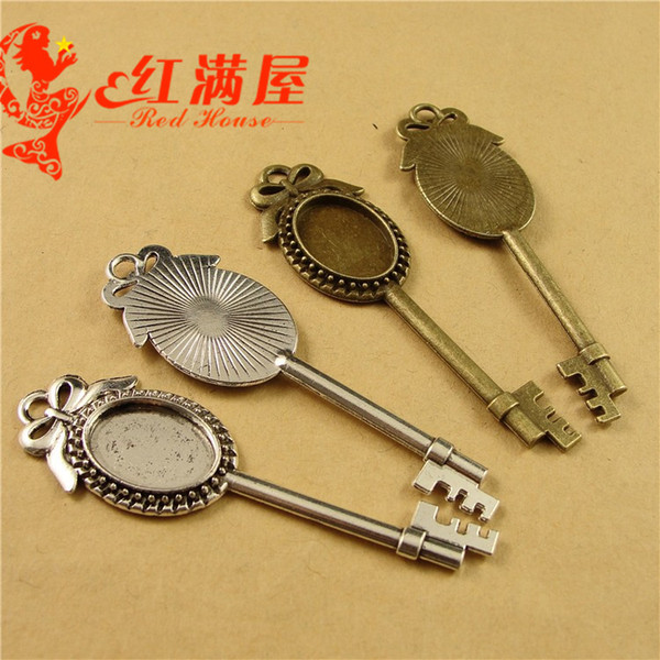 69*21MM Fit 18*13MM Antique Bronze The new DIY accessories time gem support bow key charm blank, bezel pendant base tray setting