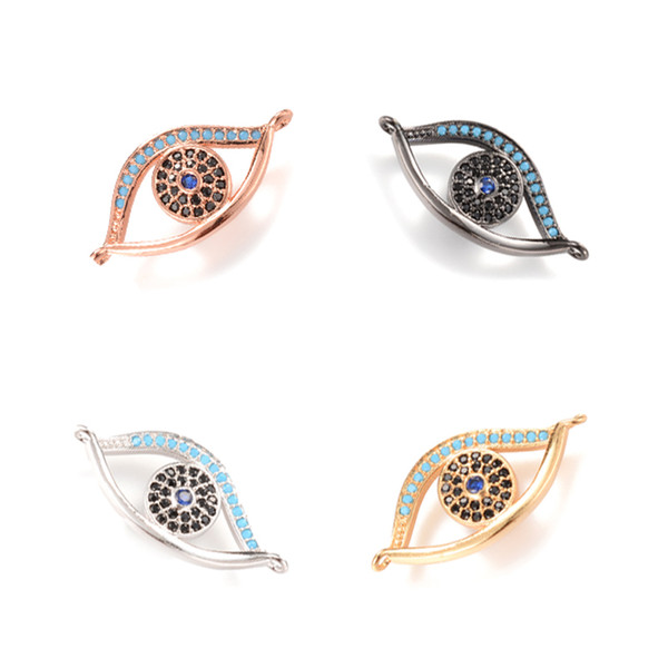 4 Color Turkey Evil eye Micro Pave Charm, Micro Pave Connector for DIY, ICSP016, Size 27*17.5 mm