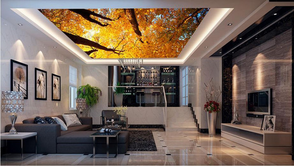 custom luxury 3d ceiling wallpaper Yellow Maple Leaf Forest 3d ceiling wallpapers for living room 3d ceiling wallpaper