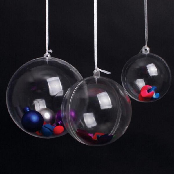 Hot Sale Christmas Ball Ornament 8 Dia Clear Plastic Hanging Balls Wedding Candy Gifts Favors Supplies Free Delievry