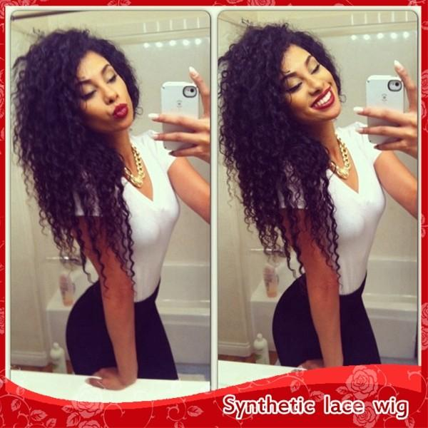 Top Quality Kinky Curly Hair Glueless Synthetic Lace Front Wigs for Black Women African American Wigs with Baby Hair Heat Resistant