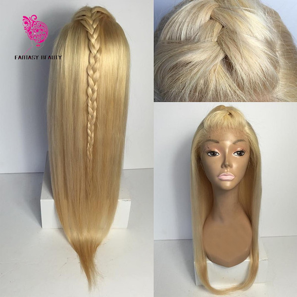 fantasy beauty straight blonde lace front human hair wig with baby hair brazilian virgin hair #613 full lace wig pre plucked hairline