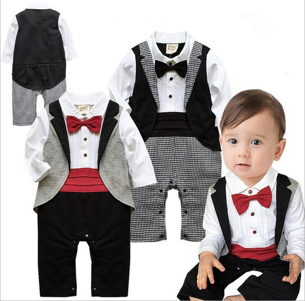 newborn baby boy Kid Casual rompers Gentleman Pants long sleeve climb clothes Sets baby clothing for boys kids one piece romper