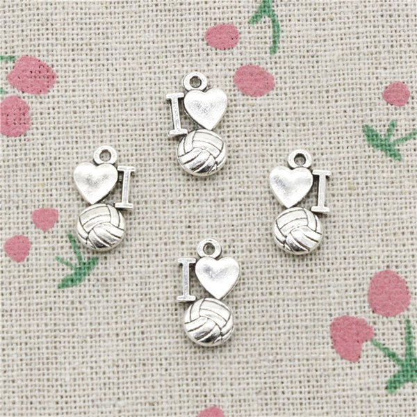 118pcs Charms i love volleyball 16*9mm Antique Silver Pendant Zinc Alloy Jewelry DIY Hand Made Bracelet Necklace Fitting