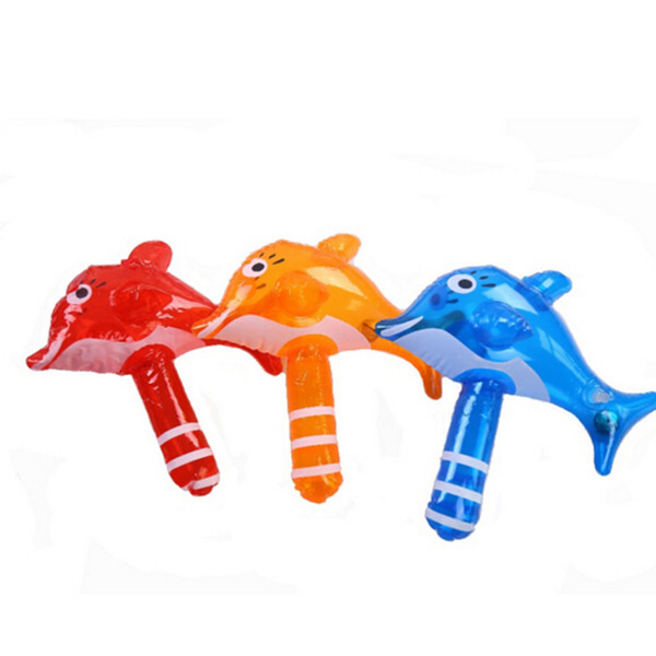 Wholesale- Hot Summer Mini Children Bath Toy Cute Inflatable Dolphin Hammer Baby Shower Water Toy Swimming Game Kids Beach Toy With Rattles