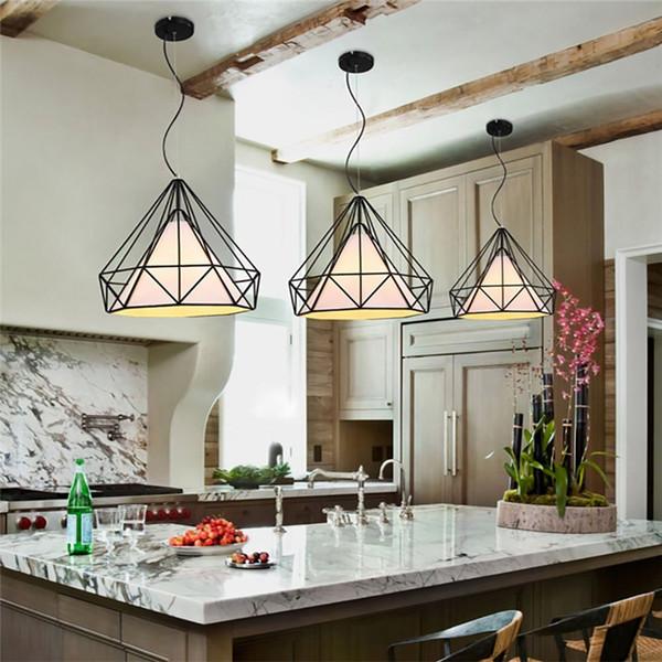 Lustre do vintage Industrial Luz de Teto Gaiola de Pássaro Pingente de Iluminação para Cozinha Sala de Jantar Bar Corredor Art Diamond Pirâmide Pingente Lâmpada