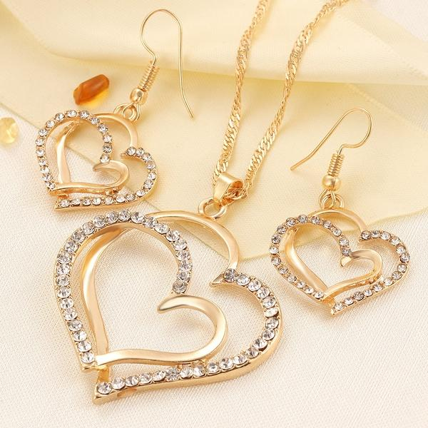top popular Luxury Wedding Necklace and Earring Set Fashion Gold Silver Crystal Charm Heart Jewelry 2021