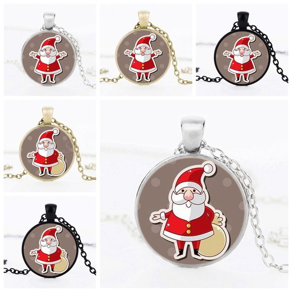 Cute Kids Christmas Gift Child Plated Silver Time Gem Necklace Choker Jewelry Handmade Art Photo Round Glass Santa Claus Pendant Necklace
