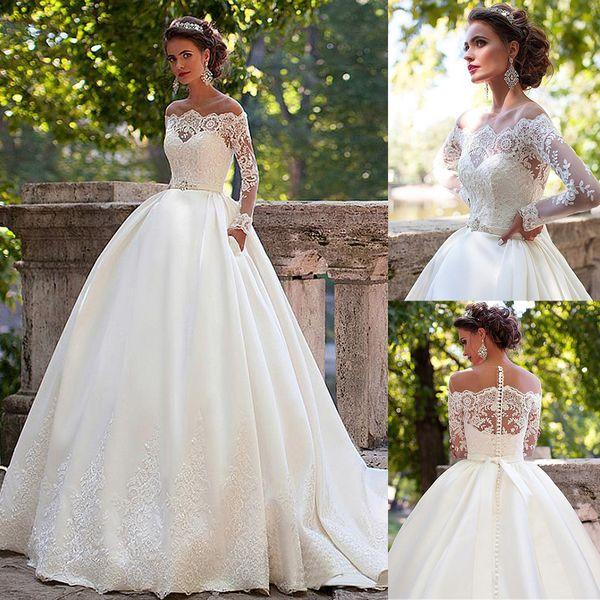 top popular Stunning Tulle Off the Shoulder Sheer Jewel Neckline Ball Gown Wedding Dresses with Belt Long Sleeves Bridal Gown vestido de fiesta 2021