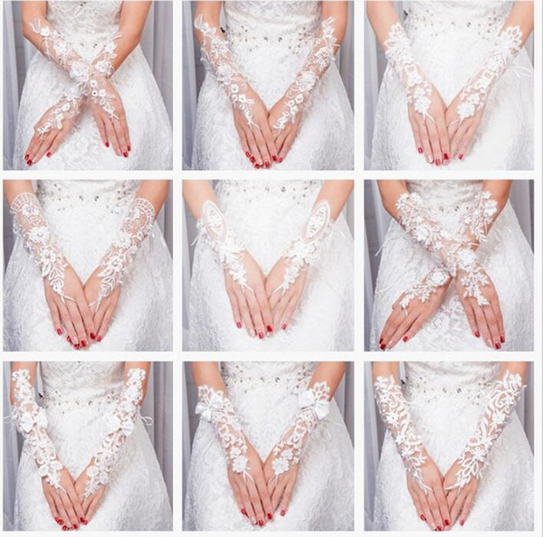 2017 More Style Chic Lace Elbow Wedding Gloves With Beading Elegant Bridal Gloves With Fingerless Wedding Accessories