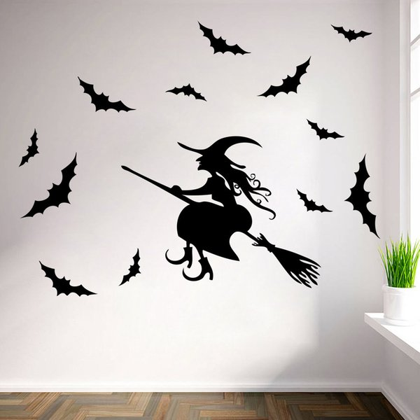 Halloween Wall Sticker Diy Removable Halloween Witch Bats Wall