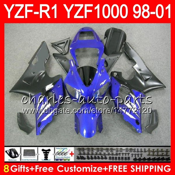 8Gift 23Color Body For YAMAHA YZF 1000 R 1 YZFR1 98 99 00 01 61HM22 blue black YZF1000 YZF R1 YZF-R1000 YZF-R1 1998 1999 2000 2001 Fairing