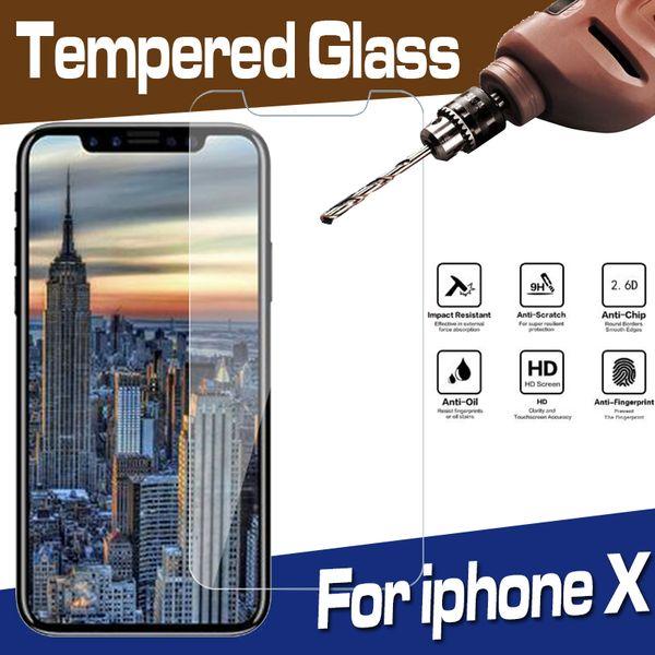 Protector de pantalla de vidrio templado transparente transparente de 9H Premium Protector de película para iPhone XS Max XR X 8 7 6 Plus 5 SE Antidetonante a prueba de arañazos