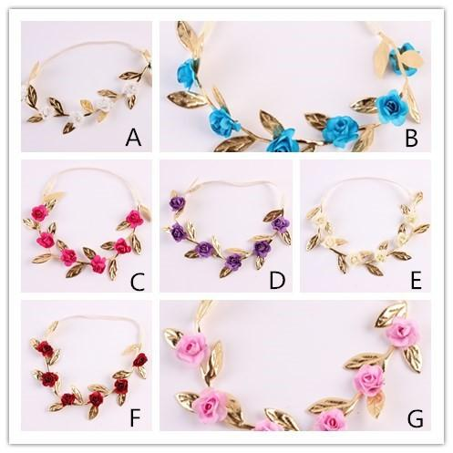 Baby small rose flower gold leaf headband flower crown garland tiara flowers hairband for floral hair baby head accessories