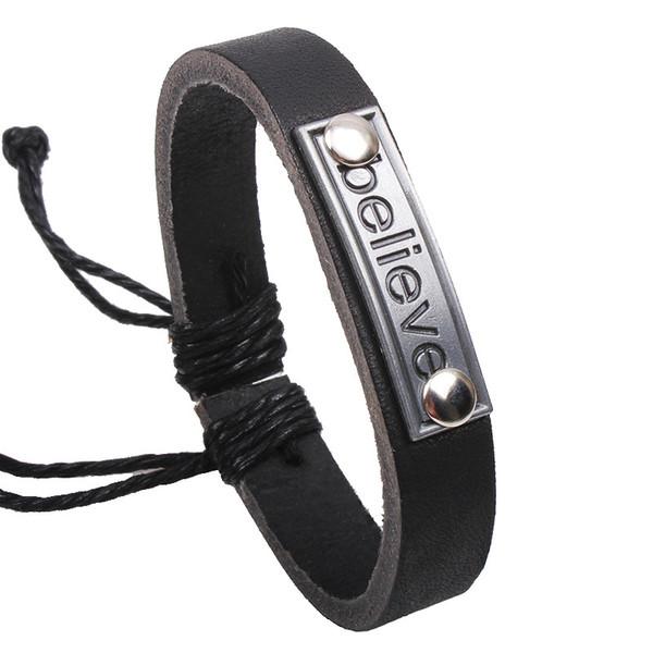 New Arrival Letter Alloy Braided Bracelets Charm High Quality Mens Fashion Leather Adjustable Bracelet for Boyfriend LB004