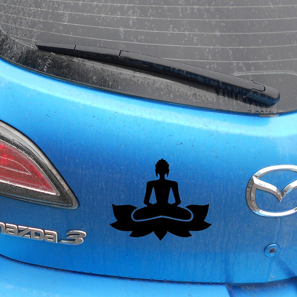 Großhandel Handwerk Sterben Sterben Stoßstange 15 Cm X 12 Cm Buddha Zen Yoga Lustige Auto Aufkleber Für Lkw Fenster Stoßstange Auto Suv Tür Laptop