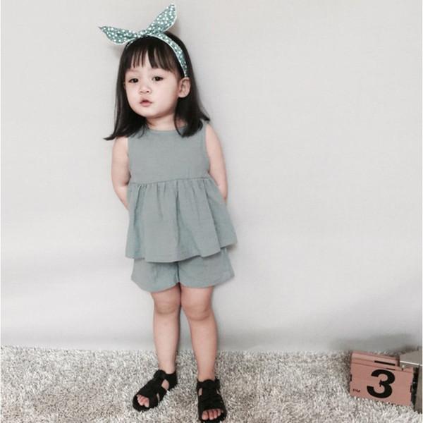 Summer Baby Girls Clothing Set Linen Swing Girls Top Short 2pcs Baby Clothes Sleeveless Children Kids Clothes Newborn Outfit
