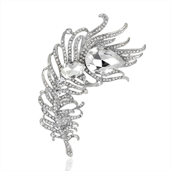 New Arrival Large Women Vintage Feather Brooch Pin Antique silver Crystal Rhinestone Metal Jewelry Accessory 170744