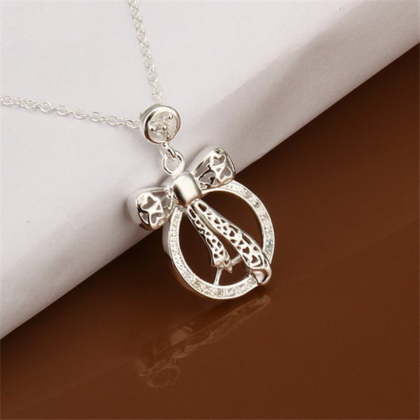 brand new Bow tie sterling silver plate Necklace fit women,wedding 925 silver pendant Necklace with chains EN447