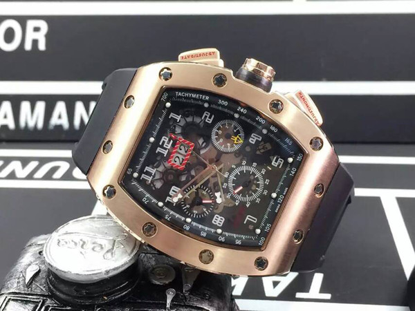 High Quality Luxury Rose Gold 18K RM011 Felipe Massa Flyback Mens Automatic Movement Skeleton Watches Rubber Men Stainless Wristwatch Gifts