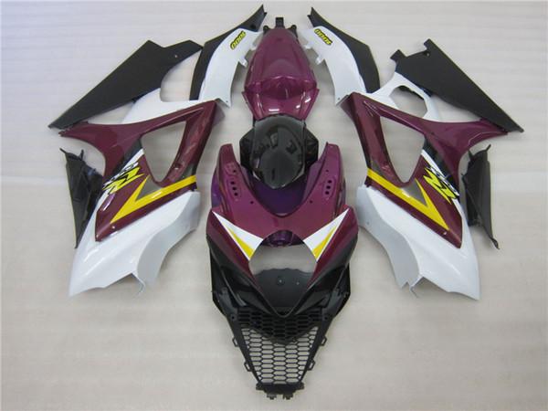 Full ABS plastic mold fairing kit for Suzuki GSXR1000 07 08 purple white black fairings set GSXR1000 2007 2008 OT38