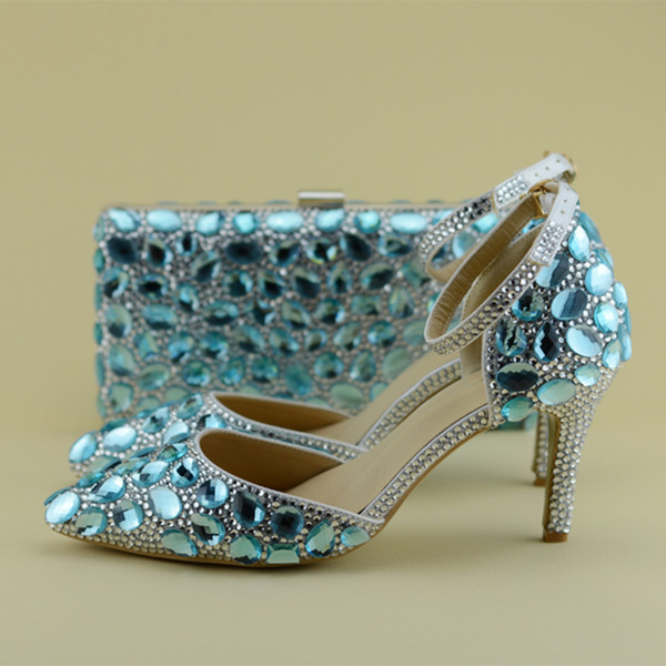 2017 Ilkbahar ve Yaz Mavi Rhinestone Ayakkabı Eşleşen Çanta Ile Kadın Gelin Düğün Sivri Burun Yüksek Topuklu Ayak Bileği Kayışı ile Stiletto