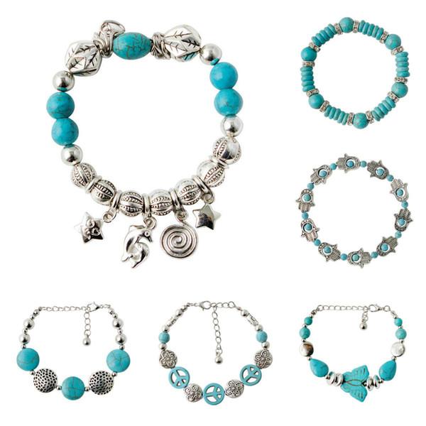Charm Bracelets Turquesa Pulseira De Ligação De Corrente De Prata Antigo Pulseira Pulseira Cuff Bead Bracelet