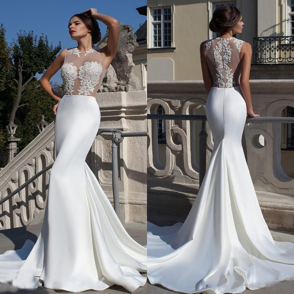 sexy see through lace wedding dresses 2017 mermaid applique top part beaded satin backless court train