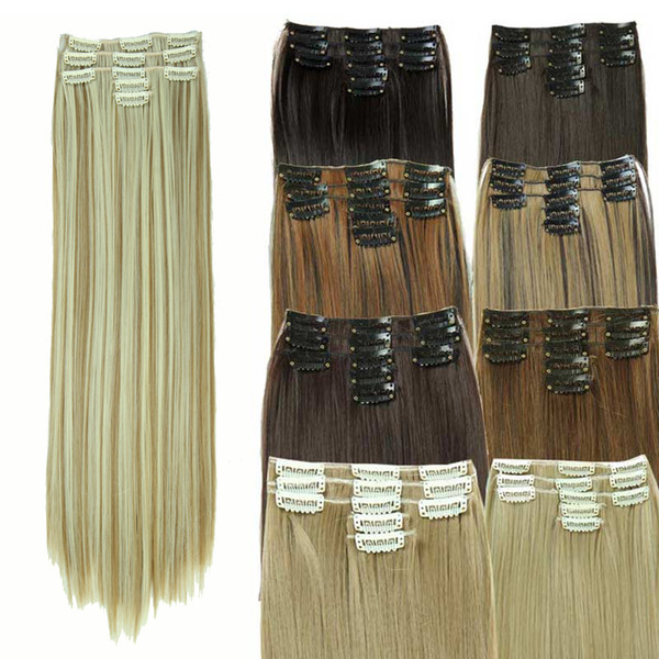 "top popular Synthetic Hair with Clips 11 Clip in Hair Extensions False Hair Hairpieces Synthetic 23"" 130g Long Straight Apply Hairpiece 2019"